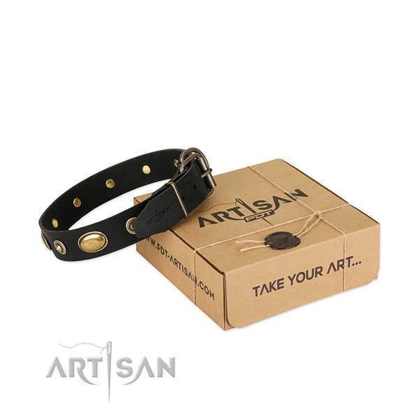 Strong decorations on full grain natural leather dog collar for your doggie