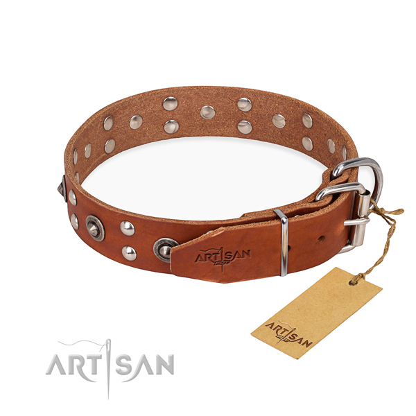 Durable D-ring on full grain genuine leather collar for your handsome four-legged friend