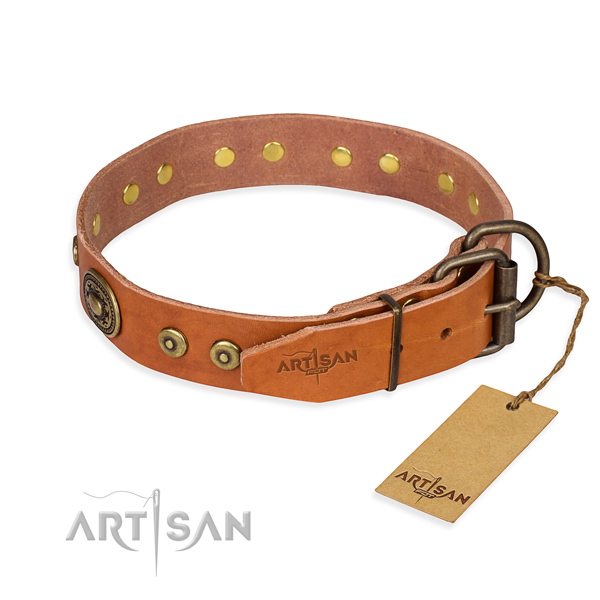 Genuine leather dog collar made of best quality material with rust-proof embellishments