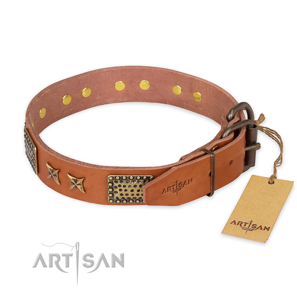 Reliable hardware on natural genuine leather collar for your lovely canine