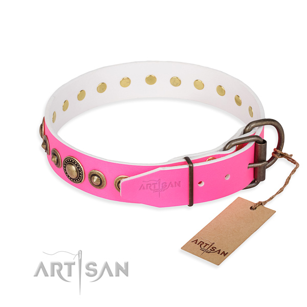 High quality full grain leather dog collar handcrafted for walking