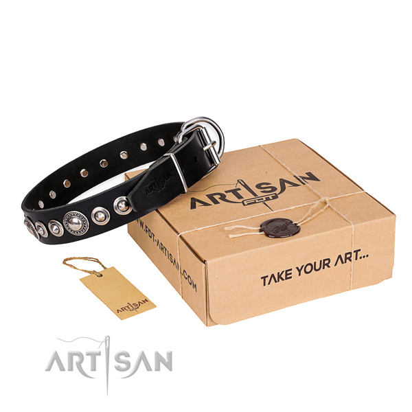 Top notch full grain genuine leather dog collar