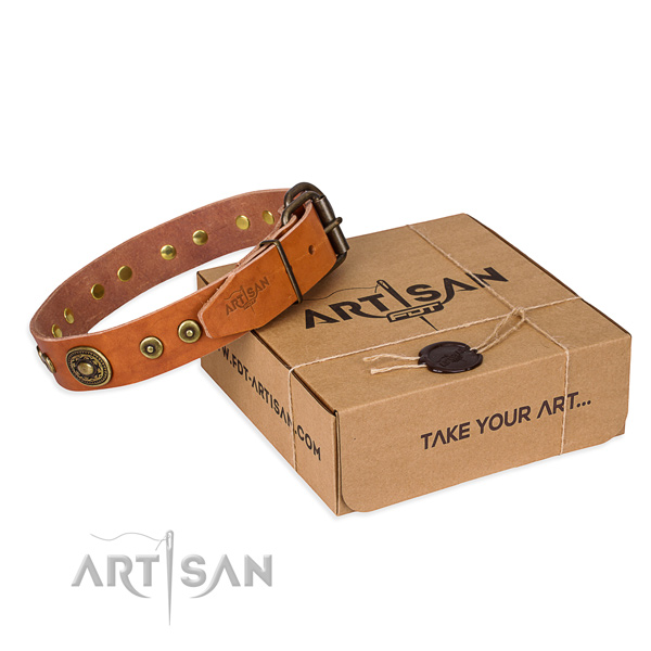 Full grain leather dog collar made of soft to touch material with durable buckle