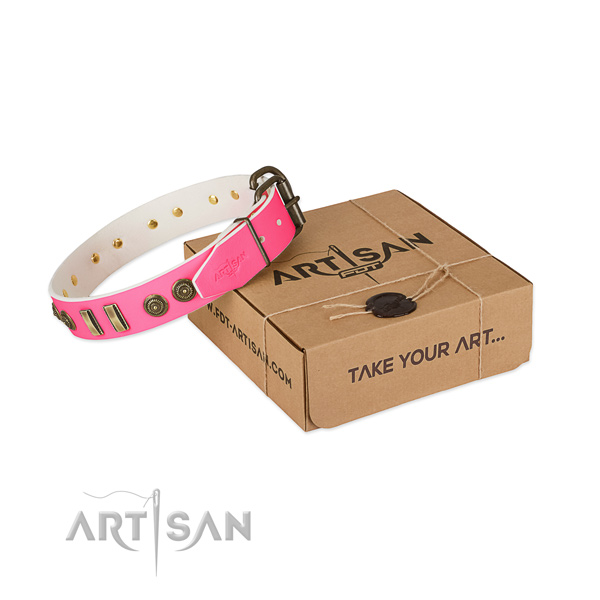Strong buckle on genuine leather dog collar for your doggie