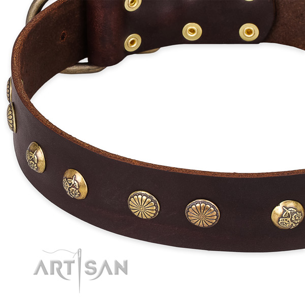 Natural genuine leather collar with corrosion proof D-ring for your stylish pet