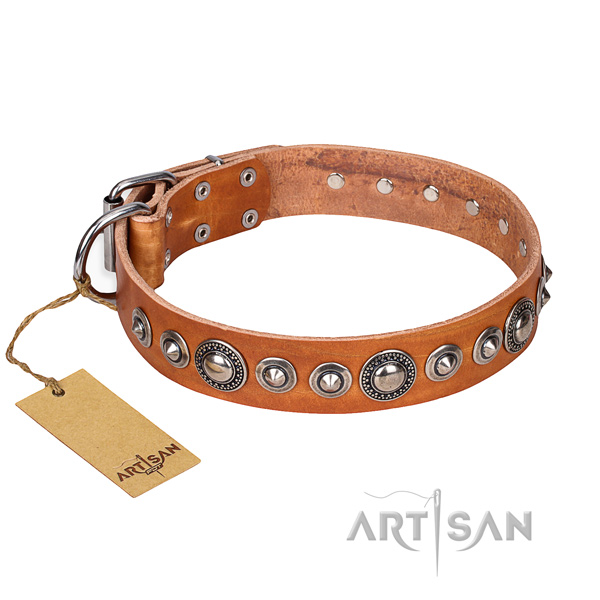 Leather dog collar made of top notch material with rust-proof D-ring