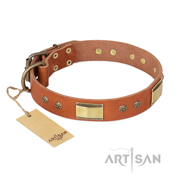 Perfect fit natural genuine leather collar for your doggie