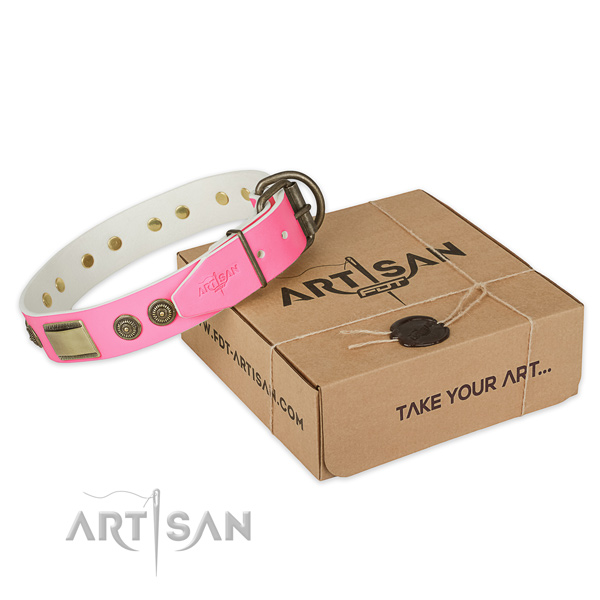 Durable embellishments on dog collar for comfortable wearing