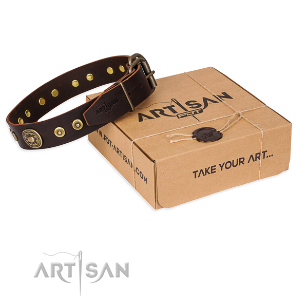 Full grain genuine leather dog collar made of high quality material with rust resistant traditional buckle