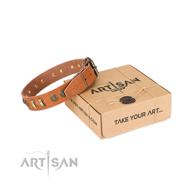 Strong fittings on full grain leather dog collar for your four-legged friend