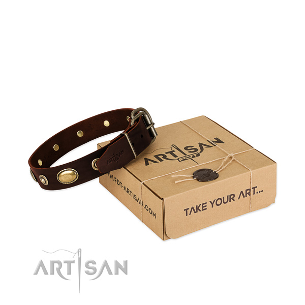 Rust-proof fittings on genuine leather dog collar for your canine