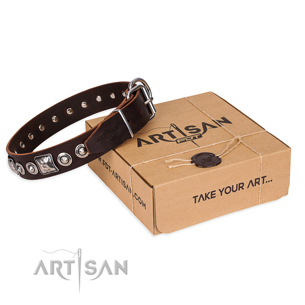 Full grain leather dog collar made of high quality material with rust-proof D-ring