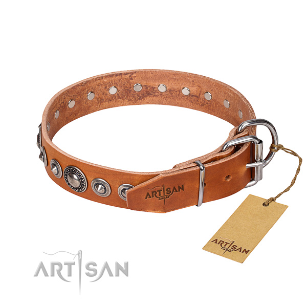 Full grain natural leather dog collar made of reliable material with corrosion proof adornments