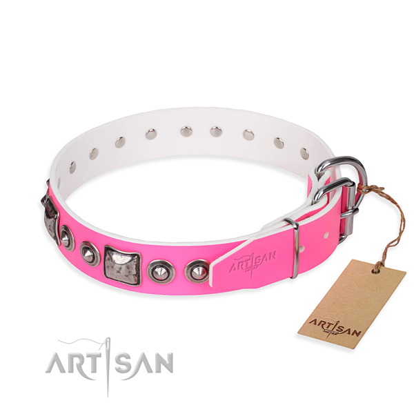 Top rate full grain natural leather dog collar created for daily walking