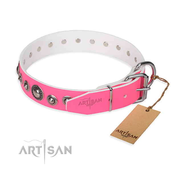 Natural genuine leather dog collar made of best quality material with rust-proof decorations