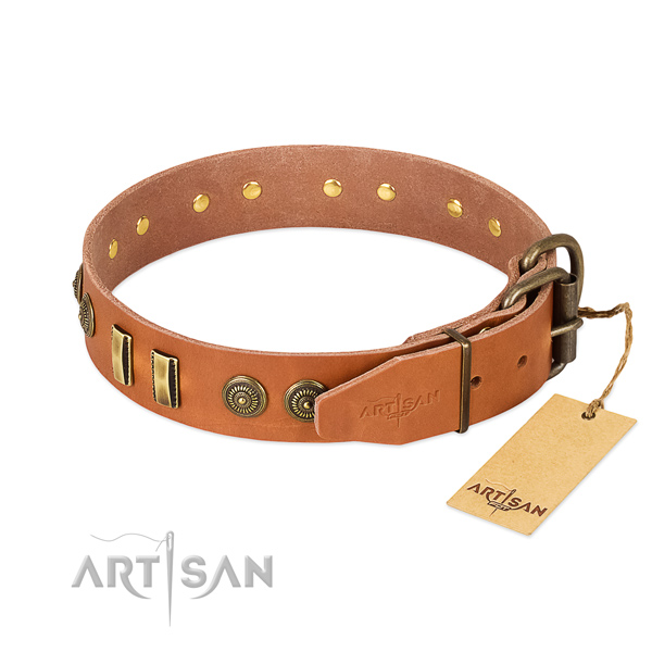 Rust-proof hardware on natural leather dog collar for your doggie