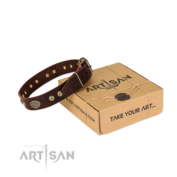 Corrosion proof studs on full grain natural leather dog collar for your four-legged friend