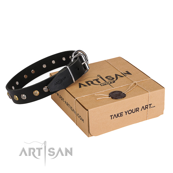 Flexible genuine leather dog collar created for comfy wearing