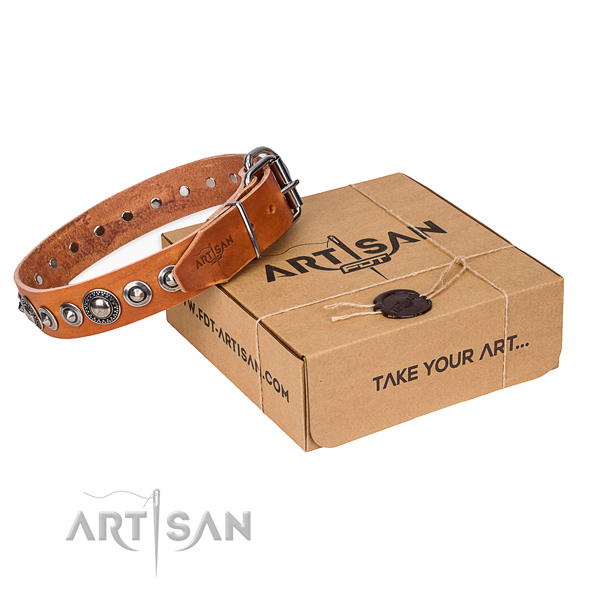 Full grain genuine leather dog collar made of quality material with corrosion proof hardware