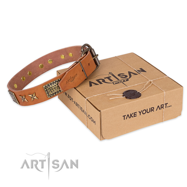 Corrosion resistant buckle on genuine leather collar for your impressive four-legged friend