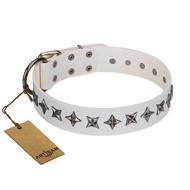 """Midnight Stars"" FDT Artisan Fashionable Leather Siberian Husky Collar with Old Silver-like Plated Decorations"