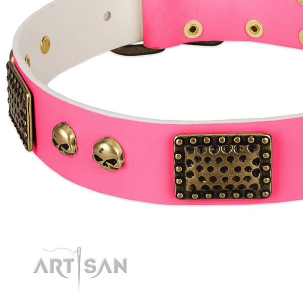 Reliable studs on full grain leather dog collar for your doggie