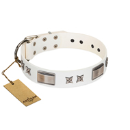 """Bling-Bling"" FDT Artisan White Leather Siberian Husky Collar with Sparkling Stars and Plates"