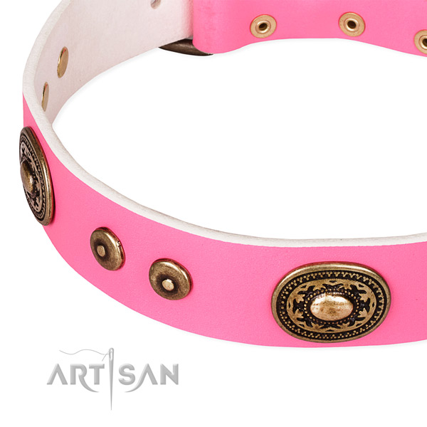 Natural genuine leather dog collar made of soft to touch material with adornments
