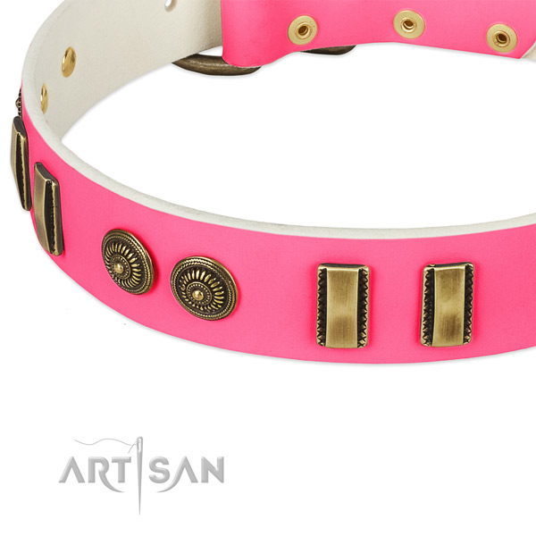 Rust resistant fittings on full grain genuine leather dog collar for your doggie