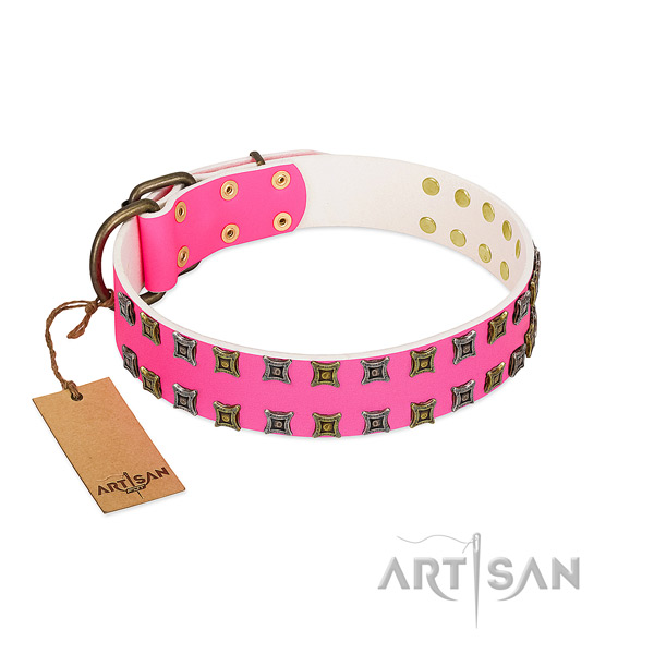 Genuine leather collar with inimitable embellishments for your doggie