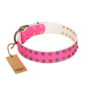 """Blushing Star"" FDT Artisan Pink Leather Siberian Husky Collar with Two Rows of Small Studs"