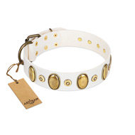 """Pearly Grace"" FDT Artisan White Leather Siberian Husky Collar with Engraved Ovals and Small Dotted Studs"