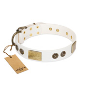 """Sweet Melody"" FDT Artisan White Leather Siberian Husky Collar with Plates and Ornamented Studs"