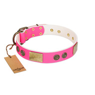 """Queen's Whim"" FDT Artisan Fancy Walking Pink Leather Siberian Husky Collar Adorned with Old Bronze-like Plates and Studs"