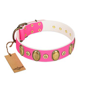 """Drawing Power"" FDT Artisan Pink Leather Siberian Husky Collar with Engraved Ovals and Dotted Studs"