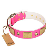"""Glammy Voyage"" FDT Artisan Pink Leather Siberian Husky Collar with Stylish Bronze-like Decorations"