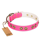 """Bright Delight"" Pink FDT Artisan Leather Siberian Husky Collar with Large Old Bronze-like Plated Studs"
