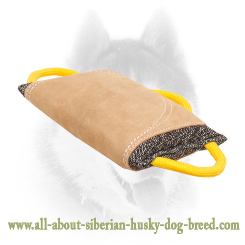 French Linen and Leather Siberian Husky Bite Pad