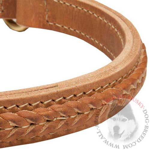 2 Ply Soft Choke Dog Collar Braided Tan Colored