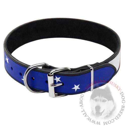 Leather Siberian Husky Collar with Nickel Buckle and D-ring