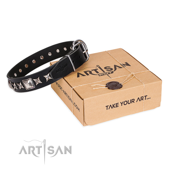 Decorated full grain natural leather dog collar for daily use