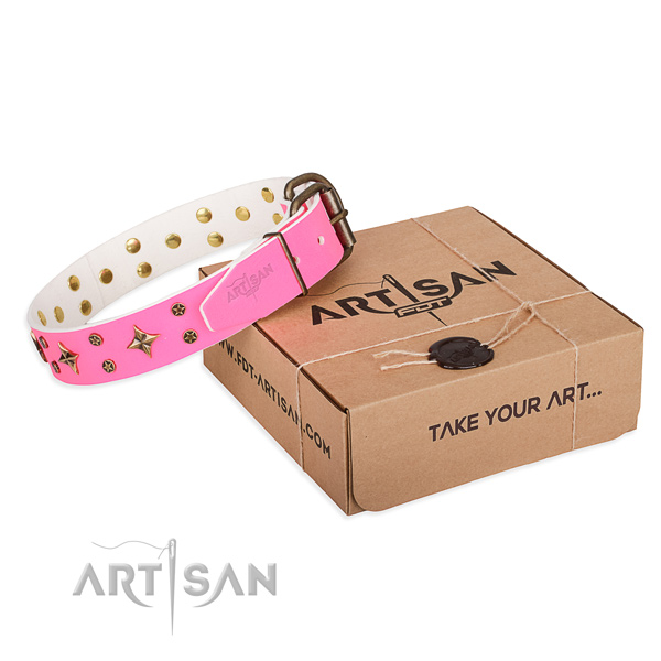 Studded full grain leather dog collar for comfortable wearing