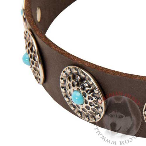 Studded Leather Siberian Husky Collar with Blue Stones in the Circles