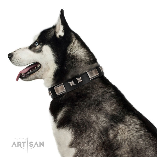 Handy use soft natural leather dog collar with decorations