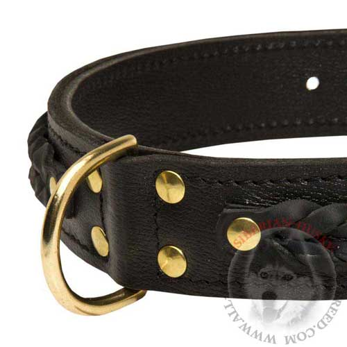 Leather Siberian Husky Collar with D-Ring for Leash Fastening