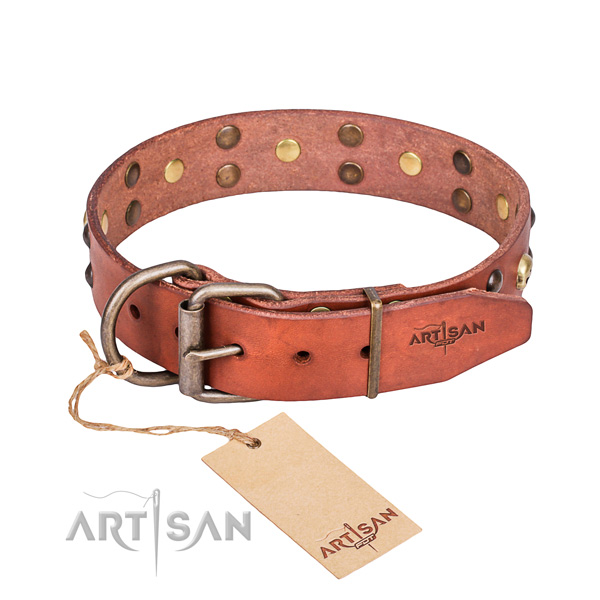 Leather dog collar with worked out edges for convenient daily wearing