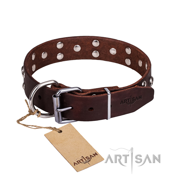 Leather dog collar with smooth edges for convenient daily use