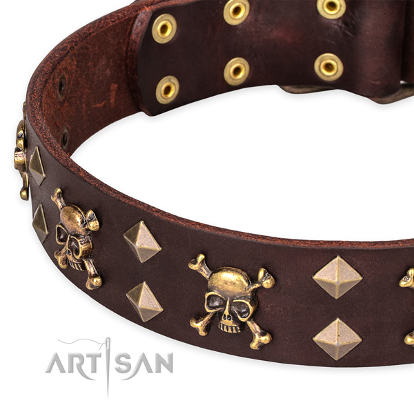 Casual style leather dog collar with cute decorations