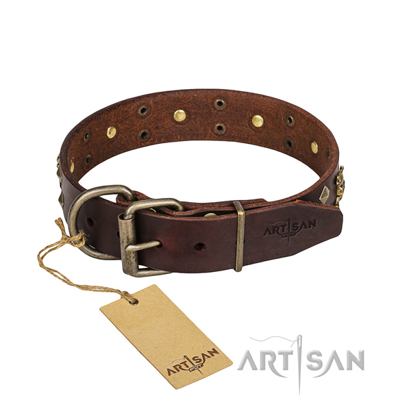 Leather dog collar with polished edges for comfy everyday wearing