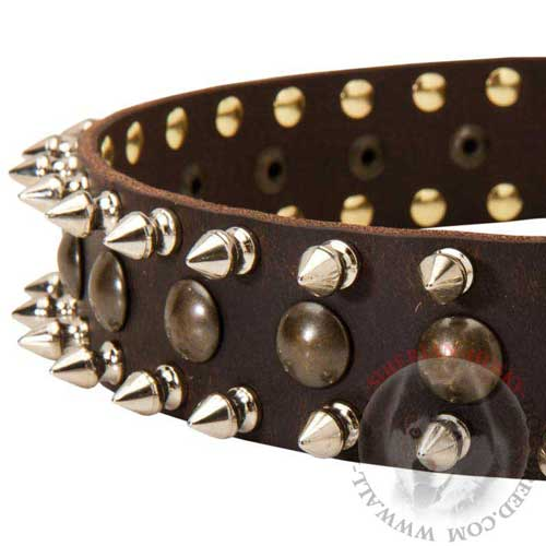 Spiked and Studded Leather Dog Collar for Siberian Husky